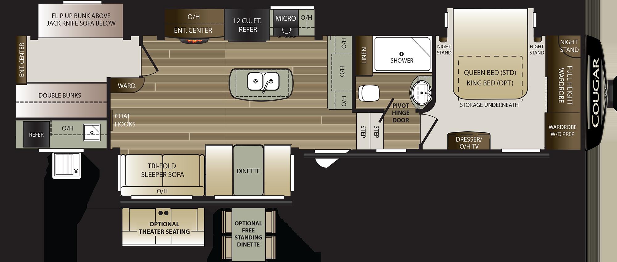 2019 KEYSTONE COUGAR 369BHS (bunks) Floorplan