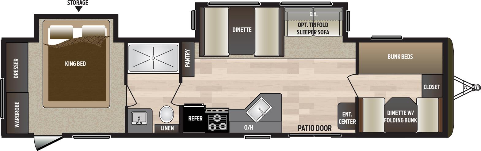 2019 KEYSTONE HIDEOUT 38BHDS (bunks) Floorplan