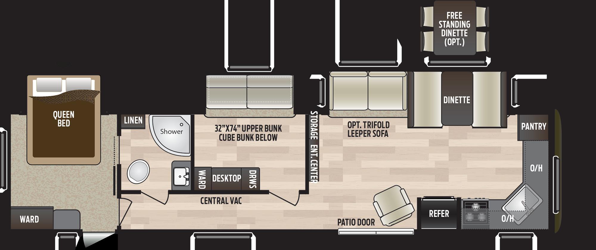 2020 KEYSTONE HIDEOUT 38FKTS (bunks) Floorplan