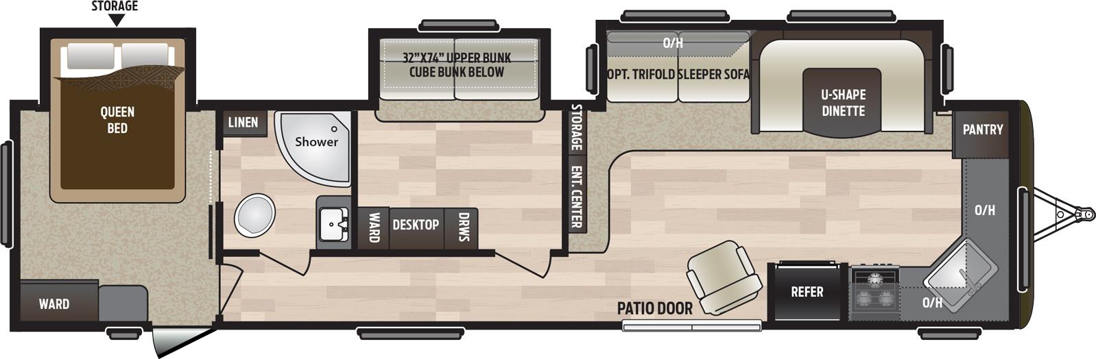 2019 KEYSTONE HIDEOUT 38FKTS (bunks) Floorplan