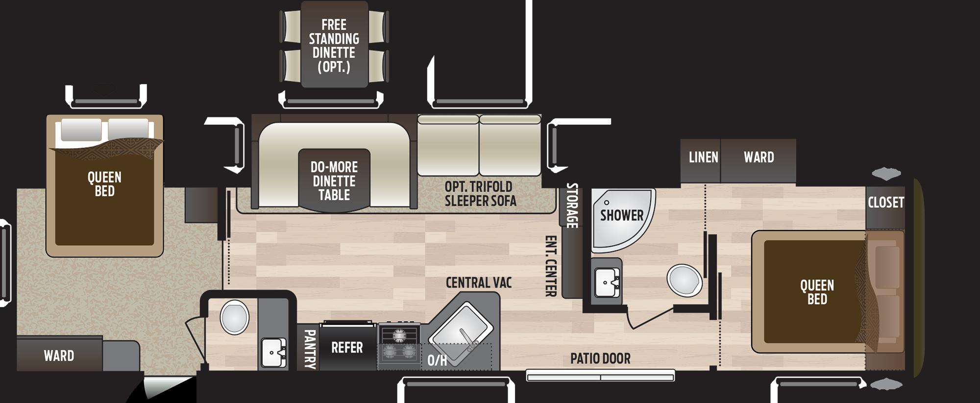 2019 KEYSTONE HIDEOUT 38FQTS (bunks) Floorplan