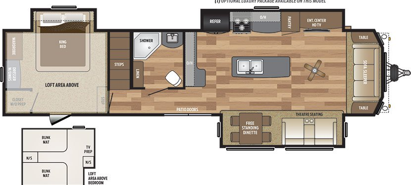2019 KEYSTONE RETREAT 391LOFT (bunks) Floorplan