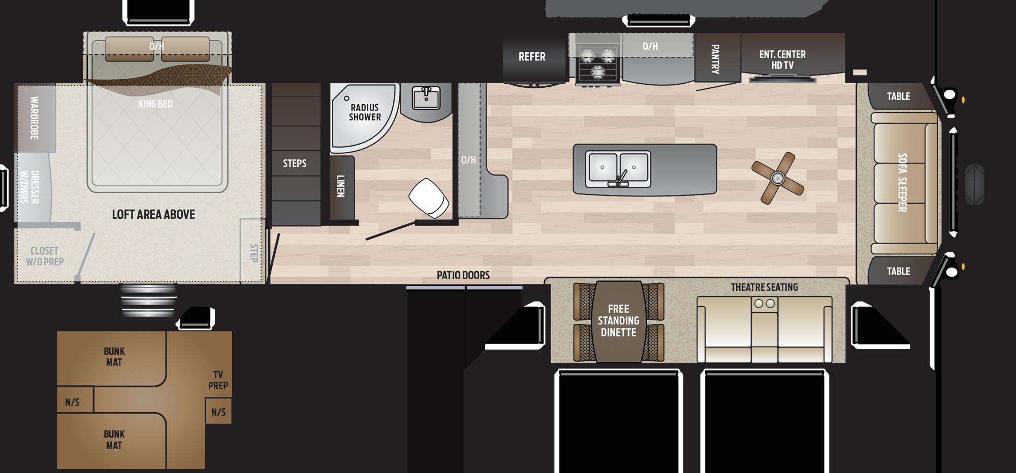 2020 KEYSTONE RETREAT 39LOFT (bunks) Floorplan