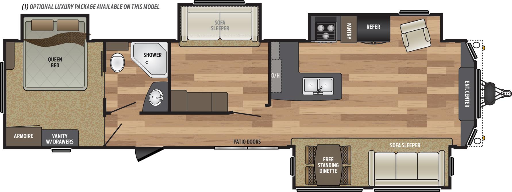 2019 KEYSTONE RETREAT 39MBNK (bunks) Floorplan