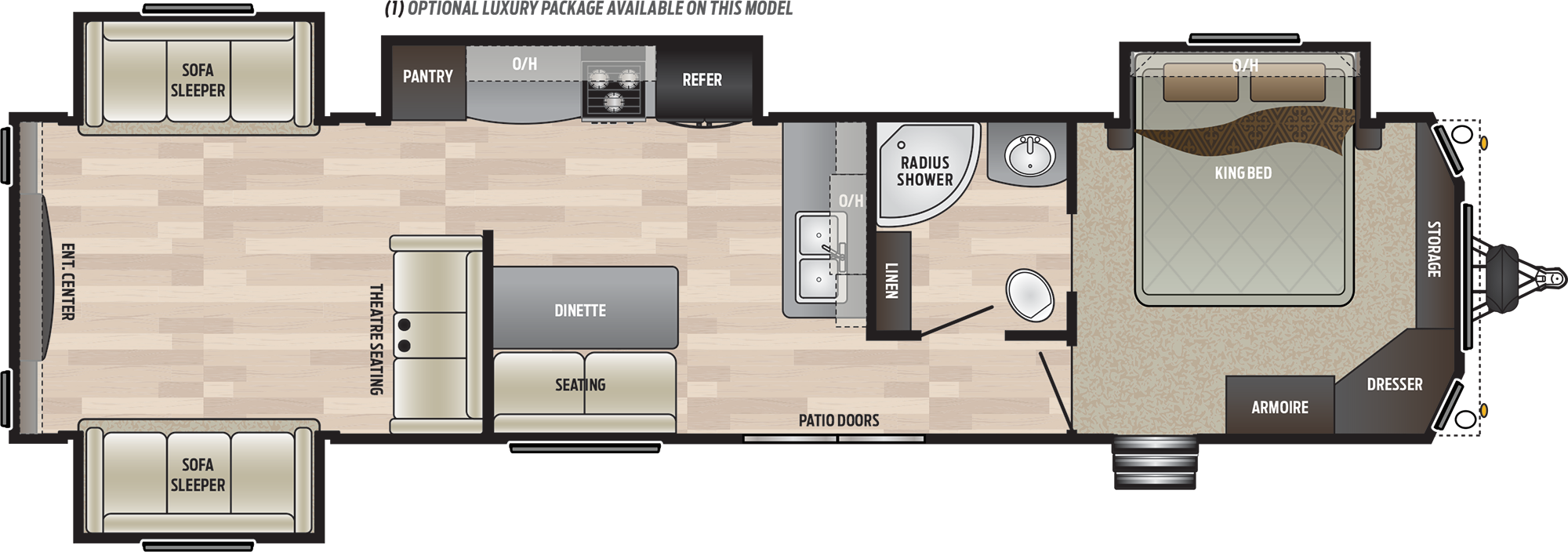 2019 KEYSTONE RETREAT 39RDEN (couples) Floorplan