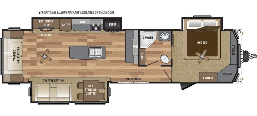 2019 KEYSTONE RETREAT 39RLTS (couples) - Floorplan
