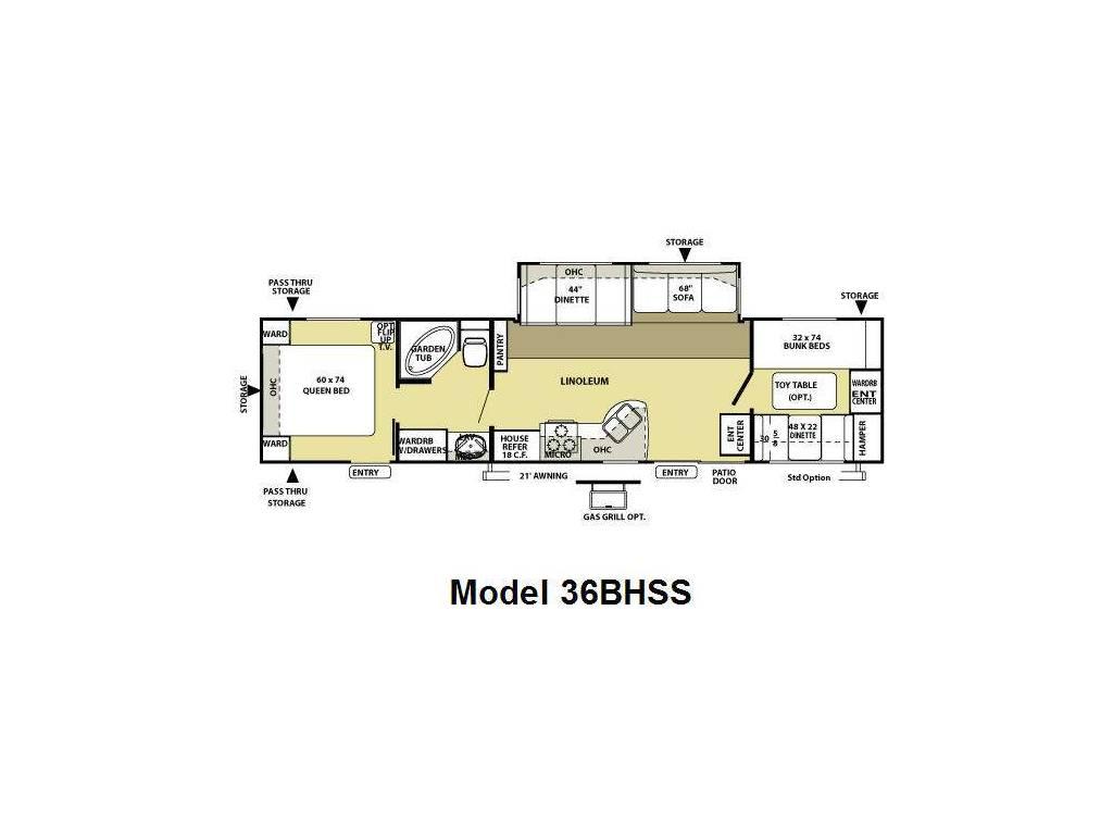 2009 FOREST RIVER SALEM 36BHSS (bunks) Floorplan