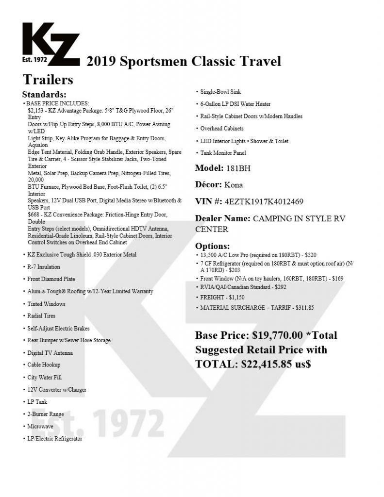 2020 K-Z INC. SPORTSMEN CLASSIC 181BH (bunks) - Image 13