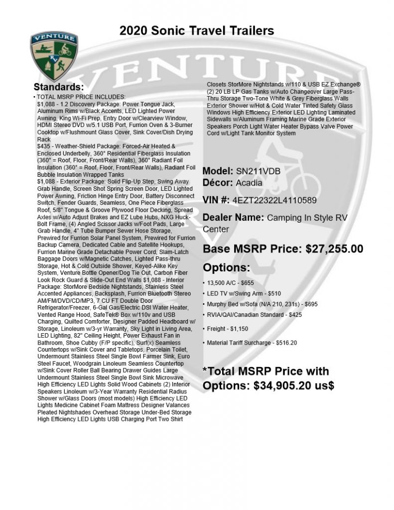 2020 VENTURE SONIC 211VDB (bunks) - Image 25