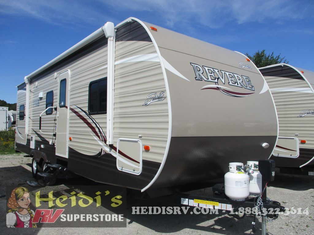 2018 SHASTA FOREST RIVER REVERE 27BH - DBL/DBL BUNKS, OUTSIDE KITCHEN