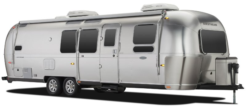 Frontal View of a 2014 AIRSTREAM 30FB Bunk, Flying Cloud