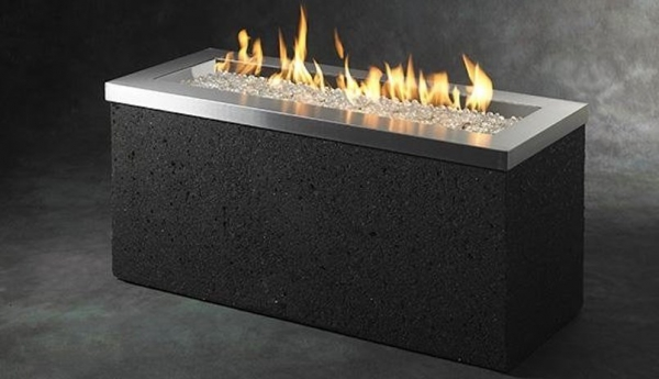 Key Largo Stainless Linear Gas Fire Pit Table