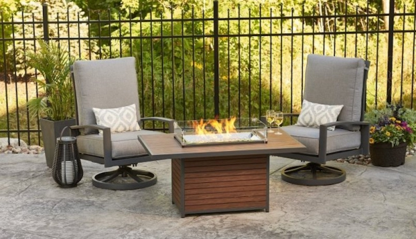 Kenwood Rectangular Chat Height Gas Fire Pit Table