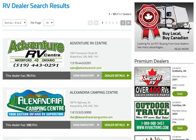 Find An RV Dealer From Across Any Province